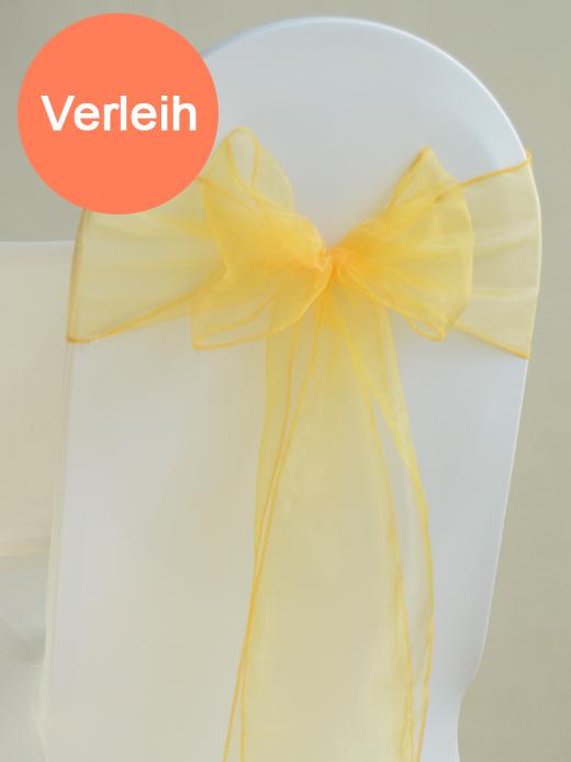 Organza stuhlschleifen in gelb mieten for Hochzeit verleih