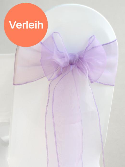 Organza stuhlschleifen in lavender mieten for Hochzeit verleih