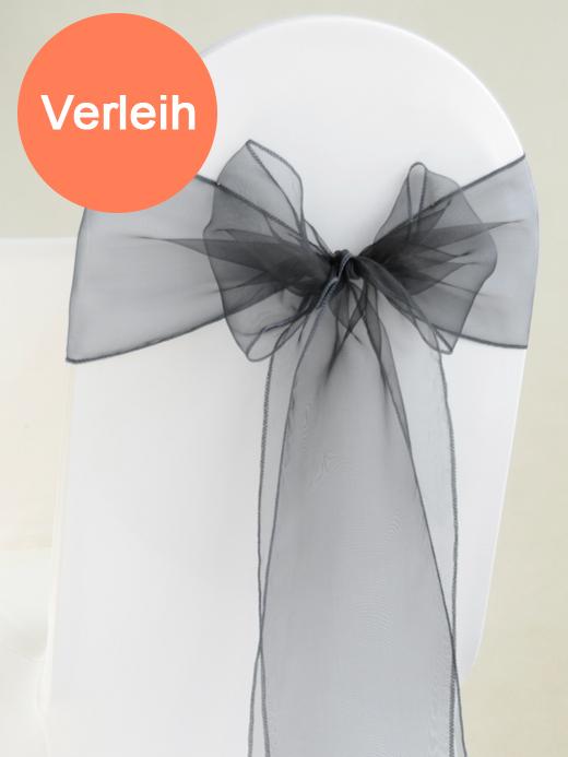 Organza stuhlschleifen in schwarz mieten for Hochzeit verleih